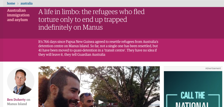Guardian article on Manus island
