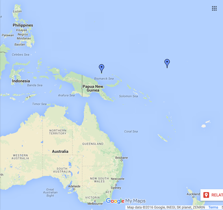 Nauru and Manus island location